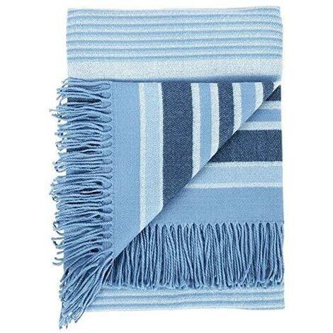 Woven Striped Blanket Blue Throw