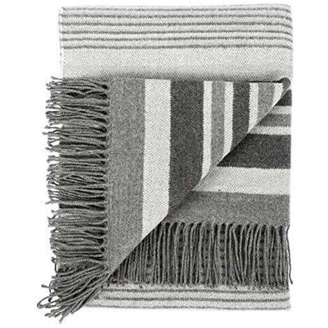Woven Striped Blanket Grey Throw