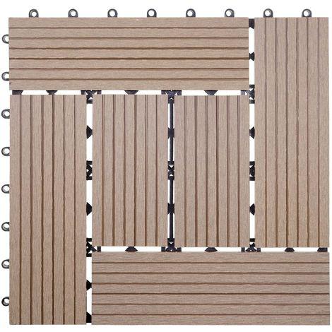 WPC Bodenfliese Sarthe, Holzoptik Balkon/Terrasse, 11x je 30x30cm = 1qm