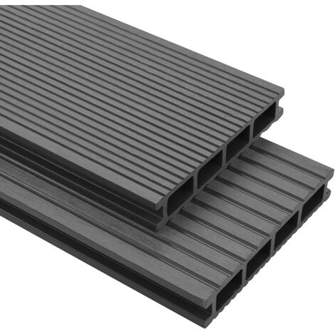WPC Decking Boards with Accessories 10 m虏 2.2 m Grey