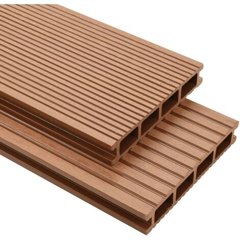 WPC Decking Boards with Accessories 25 m虏 4 m Brown