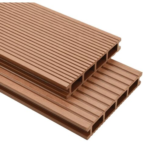 WPC Decking Boards with Accessories 35 m虏 4 m Brown