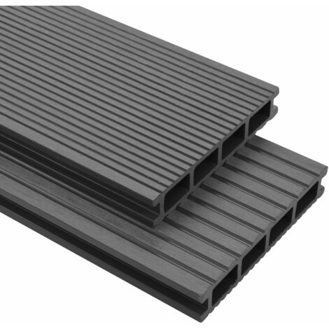 WPC Decking Boards with Accessories 35 m虏 4 m Grey