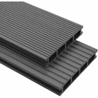 WPC Decking Boards with Accessories 36 m² 2.2 m Grey