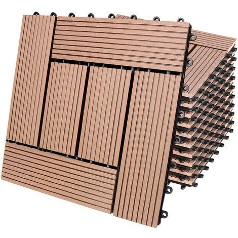 """main image of """"WPC Decking Tiles Waterproof Flooring Terrace Balcony Garden Patio Outdoor Sidewalks Composite Deck Floor"""""""