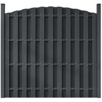 WPC Fence Panel with 2 Posts 180x(165-180) cm Curved Grey