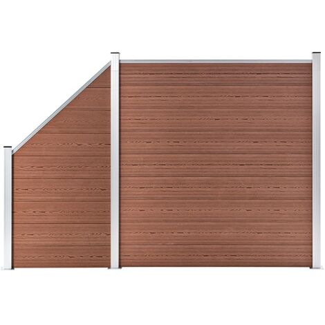 WPC Fence Set 1 Square + 1 Slanted 273x186 cm Brown