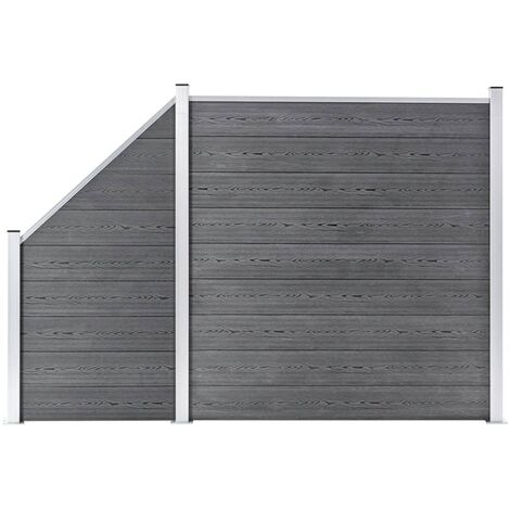 WPC Fence Set 1 Square + 1 Slanted 273x186 cm Grey