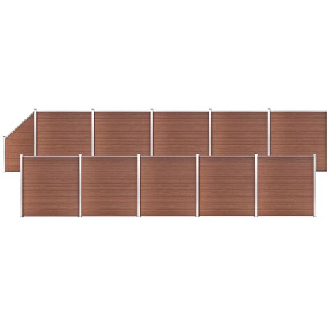 WPC Fence Set 10 Square + 1 Slanted 1830x186 cm Brown