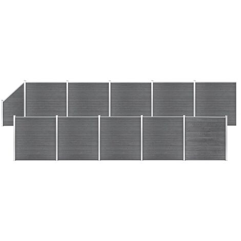 WPC Fence Set 10 Square + 1 Slanted 1830x186 cm Grey