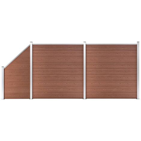 WPC Fence Set 2 Square + 1 Slanted 446x186 cm Brown
