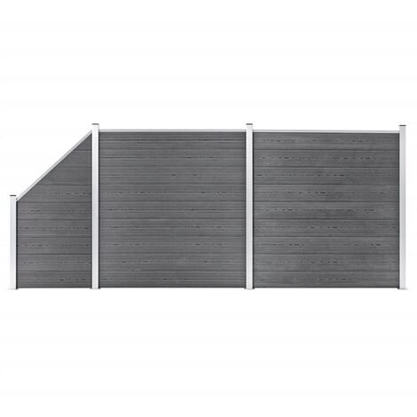 WPC Fence Set 2 Square + 1 Slanted 446x186 cm Grey
