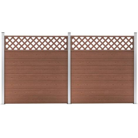 WPC Fence Set 2 Square 353x185 Brown