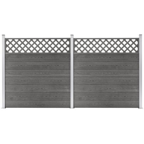 WPC Fence Set 2 Square 353x185 Grey