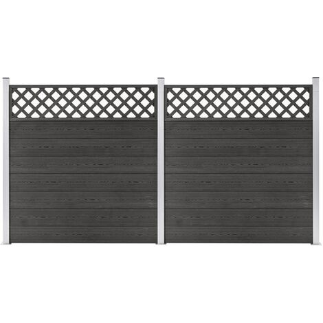 WPC Fence Set 2 Square 353x185 Grey - Grey