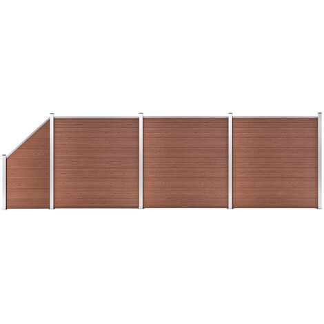 WPC Fence Set 3 Square + 1 Slanted 619x186 cm Brown