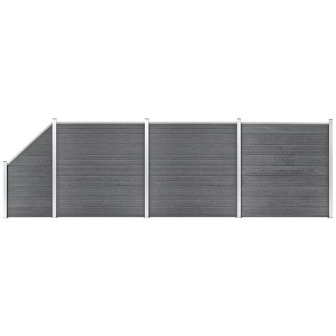 WPC Fence Set 3 Square + 1 Slanted 619x186 cm Grey