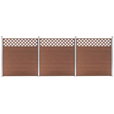WPC Fence Set 3 Square 526x185 Brown