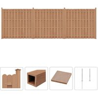 WPC Fence Set 3 Square 562x185 cm Brown