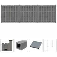 WPC Fence Set 3 Square 562x185 cm Grey