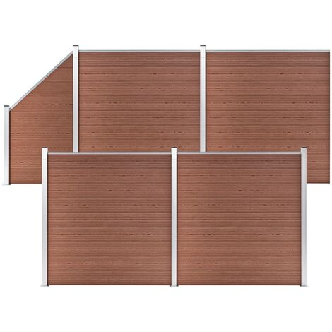 WPC Fence Set 4 Square + 1 Slanted 792x186 cm Brown