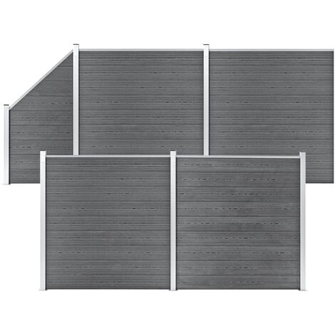 WPC Fence Set 4 Square + 1 Slanted 792x186 cm Grey
