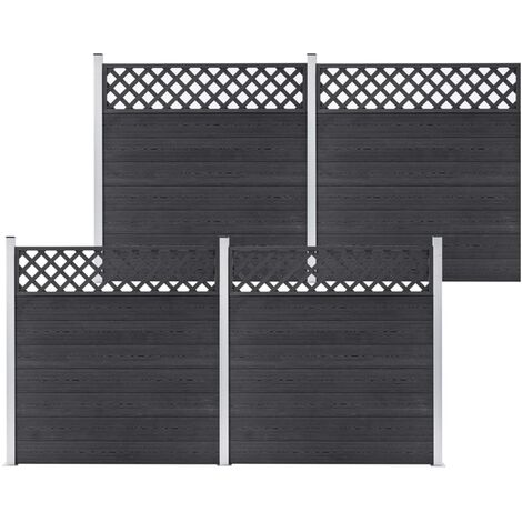 WPC Fence Set 4 Square 699x185 Grey - Grey