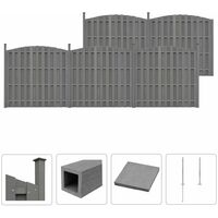 WPC Fence Set 5 Curved 932x(165-185) cm Grey