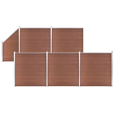 WPC Fence Set 5 Square + 1 Slanted 965x186 cm Brown
