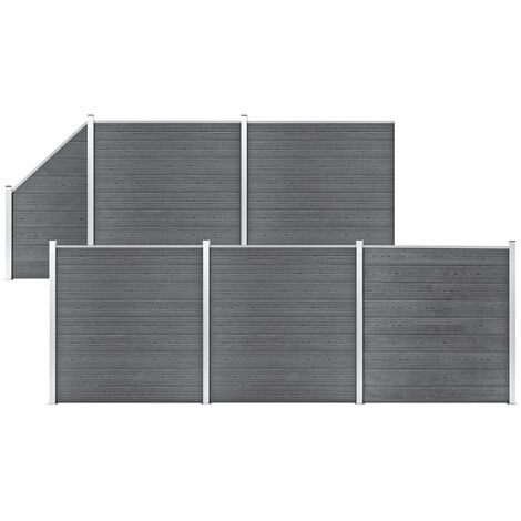 WPC Fence Set 5 Square + 1 Slanted 965x186 cm Grey