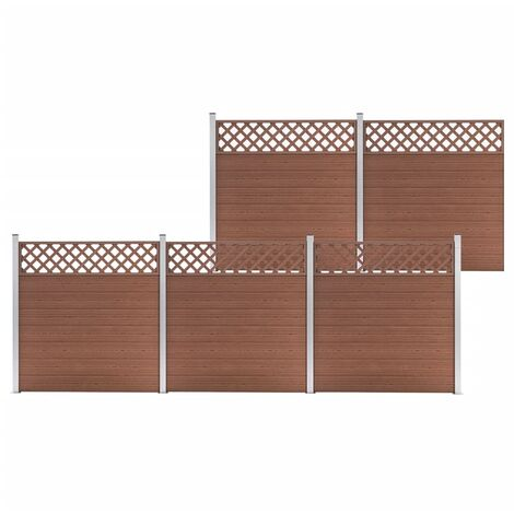 WPC Fence Set 5 Square 872x185 Brown