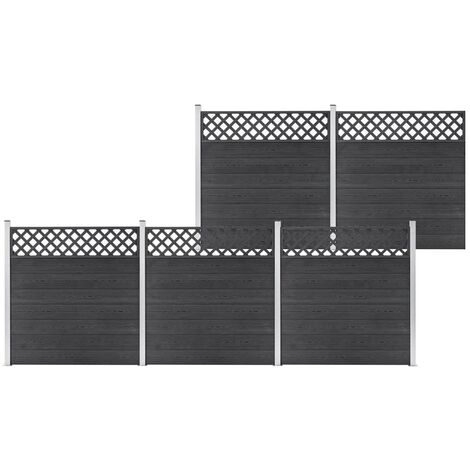 WPC Fence Set 5 Square 872x185 Grey