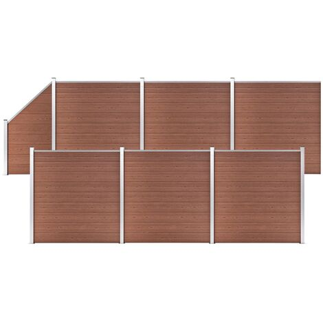 WPC Fence Set 6 Square + 1 Slanted 1138x186 cm Brown