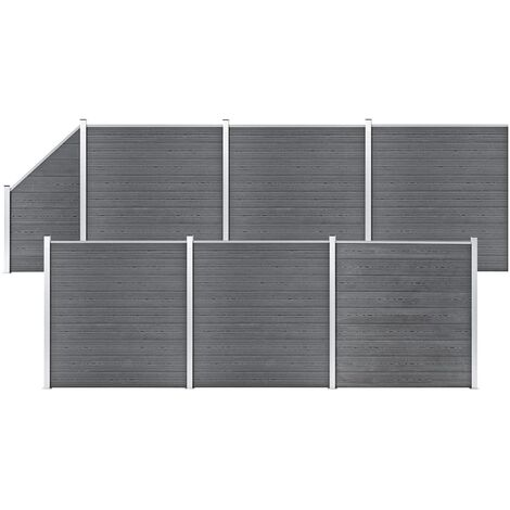 WPC Fence Set 6 Square + 1 Slanted 1138x186 cm Grey