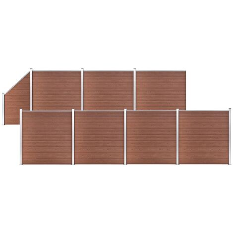 WPC Fence Set 7 Square + 1 Slanted 1311x186 cm Brown