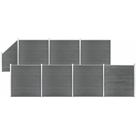 WPC Fence Set 7 Square + 1 Slanted 1311x186 cm Grey