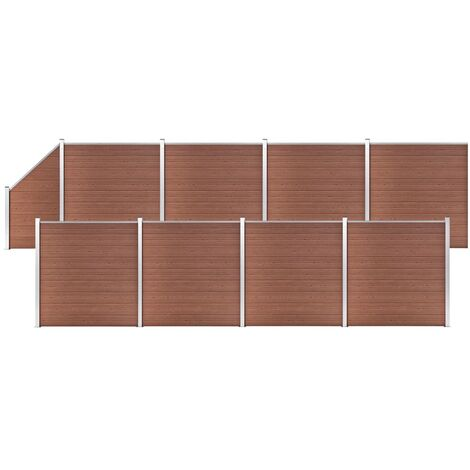 WPC Fence Set 8 Square + 1 Slanted 1484x186 cm Brown
