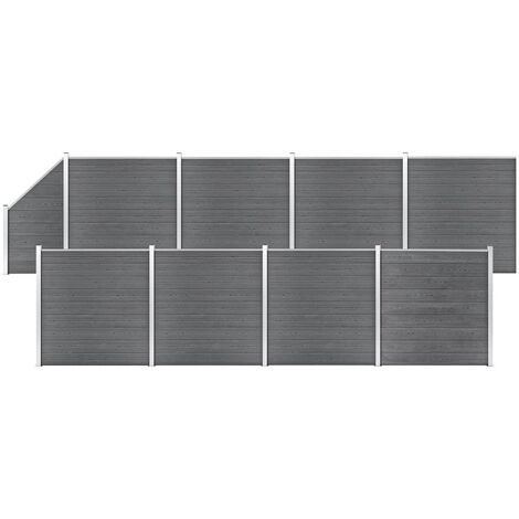WPC Fence Set 8 Square + 1 Slanted 1484x186 cm Grey