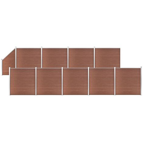 WPC Fence Set 9 Square + 1 Slanted 1657x186 cm Brown