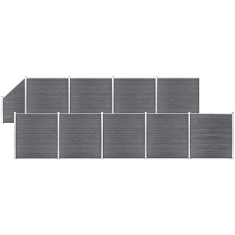 WPC Fence Set 9 Square + 1 Slanted 1657x186 cm Grey