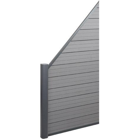 WPC pare-vue Sarthe, abat-vent, poteau en aluminium