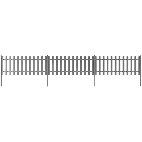 WPC Picket Fence with Posts 3 pcs 6 m Long 80 cm High Grey