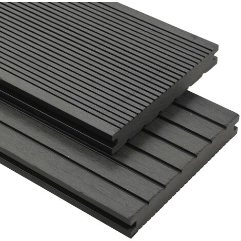 WPC Solid Decking Boards with Accessories 30 m² 4 m Grey
