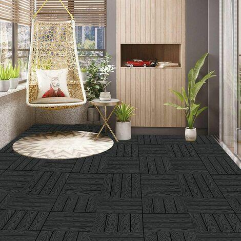 WPC terrasse bois imitation carrelage, revêtement de sol avec système de clic, 11 pièces anthracite