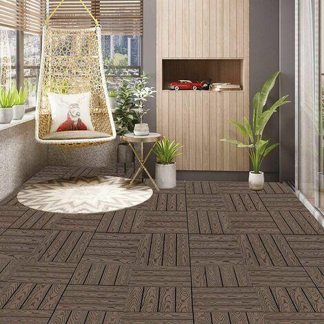 WPC terrasse carrelage imitation bois, revêtement de sol avec système de clic, 11 pièces brun