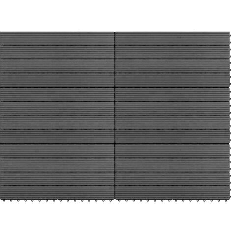 WPC Tiles 60x30 cm 6 pcs 1m² Grey