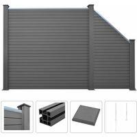 WPC Zaun-Set 1 Quadrat + 1 Schräge 277 x 187 cm Grau