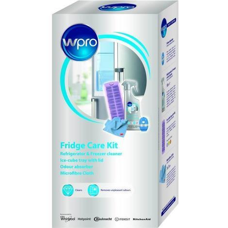 WPRO KFD100 Kit contenant 1 Bac a glaçons avec couvercle + 1 spray nettoyant 500 ml + 1 absorbeur d'odeurs + 1 tissu microfibre 3M