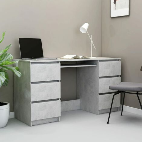 Writing Desk Concrete Grey 140x50x77 cm Chipboard