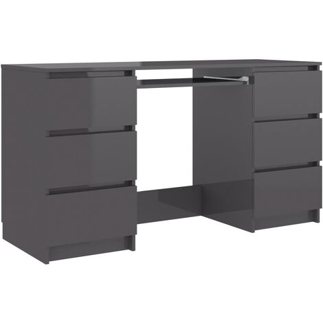 Writing Desk High Gloss Grey 140x50x77 cm Chipboard